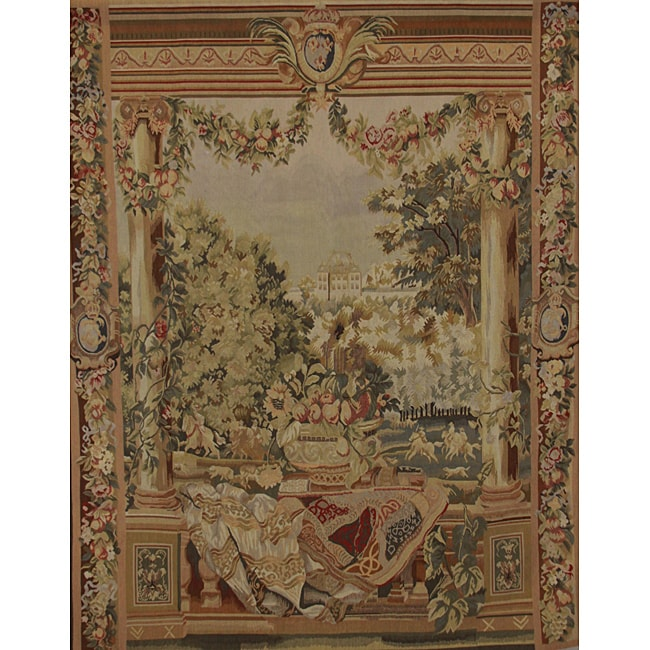 Handwoven Aubusson-Weave New Zealand Wool Tapestry