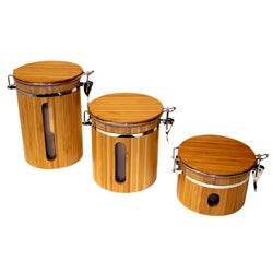 Le Chef Bamboo Storage Canisters and Lazy Susan Set