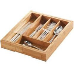 Le Chef Expandable Bamboo Utensil Organization Tray
