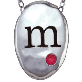 Chroma Sterling Silver Created Ruby Birthstone Initial Necklace Made with SWAROVSKI GEMS