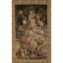 Handwoven Green-and-Brown Aubusson-Weave Wool Tapestry