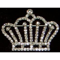 Silverplated Crystal Crown Pin