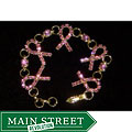 Silverplated Crystal Pink Ribbon Bracelet