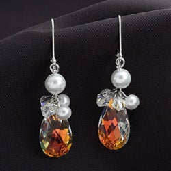 Crystale Silverplated Crystal and Faux Pearl Teardrop Cluster Earrings
