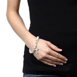 Crystale Crystal Glass Cross Stretch Bracelet