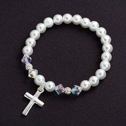 Crystale Crystal Glass Cross Stretch Bracelet
