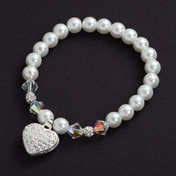 Crystale Silverplated Crystal and Glass Heart Stretch Bracelet