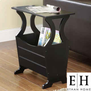 ETHAN HOME Astara Black Magazine Rack End Accent Table