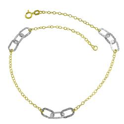 Fremada 10k Two-tone Gold Oval Link Station Anklet