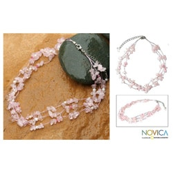 'Clouds' White Freshwater Pearl Rose Quartz Necklace (4 mm) (Thailand)