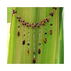 Stainless Steel 'Chestnut Shower' Tiger's Eye Necklace (Thailand)