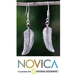 Sterling Silver 'Light As a Feather' Garnet Earrings (Indonesia)