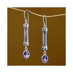Sterling Silver 'Bali Birthright' Amethyst Earrings (Indonesia)