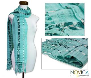 Cotton 'Tradition In Aqua' Scarf (Guatemala)