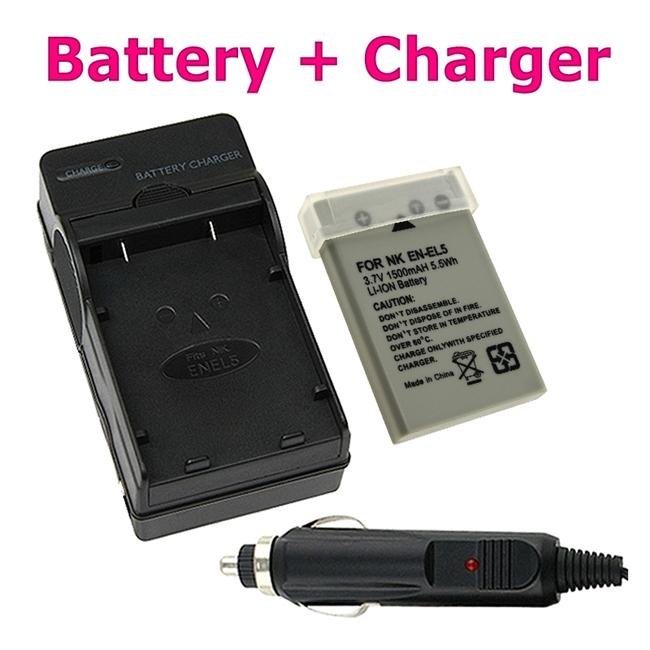 Insten Compact Battery Charger/ Li-ion Battery for Nikon EN-EL5