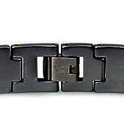 Men's Tungsten Carbide Black-plated Edged Snake-link Bracelet (12 mm)