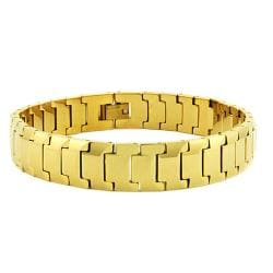 Men's Tungsten Carbide Gold-plated Snake-link Bracelet (12 mm)