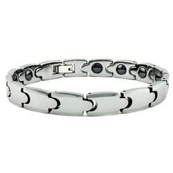 Men's Tungsten Carbide Germanium Magnetic Link Bracelet (9 mm)