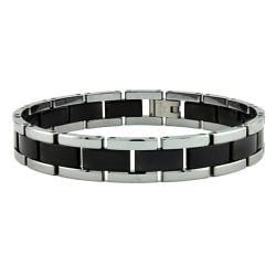 Men's Tungsten Carbide Black and Silver Two-tone Bracelet (10 mm)