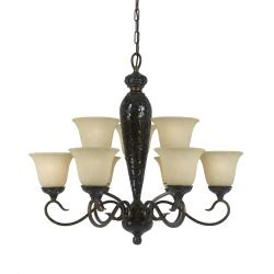 Mosaic 9-light Bronze Chandelier