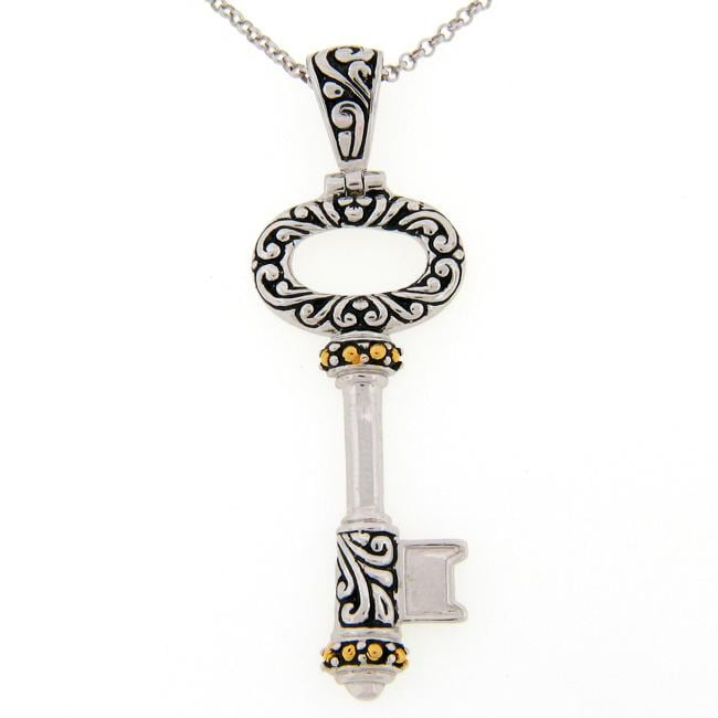 Meredith Leigh Sterling Silver and 14k Yellow Gold Key Necklace