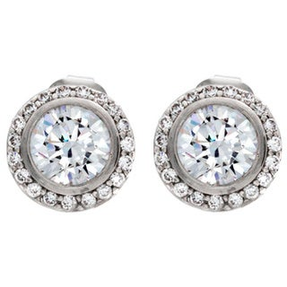 NEXTE Jewelry Silvertone Clear Cubic Zirconia Cassion Stud Earrings