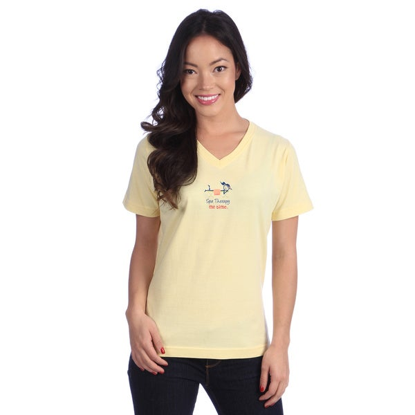 Women's Yellow V-neck Tee