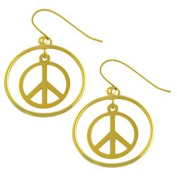Fremada 14k Yellow Gold Peace Dangle Earrings