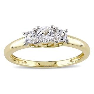 Miadora 10k Yellow Gold Created White Sapphire 3-stone Ring with Bonus Earrings