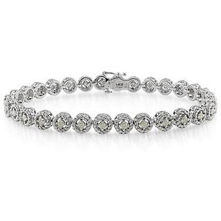 Haylee Jewels Sterling Silver 1ct TDW Diamond Halo Bracelet (H-I, I2-I3)