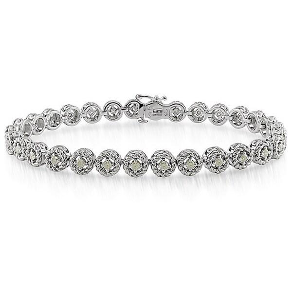 Miadora Sterling Silver 1ct TDW Diamond Halo Bracelet (H-I, I2-I3)