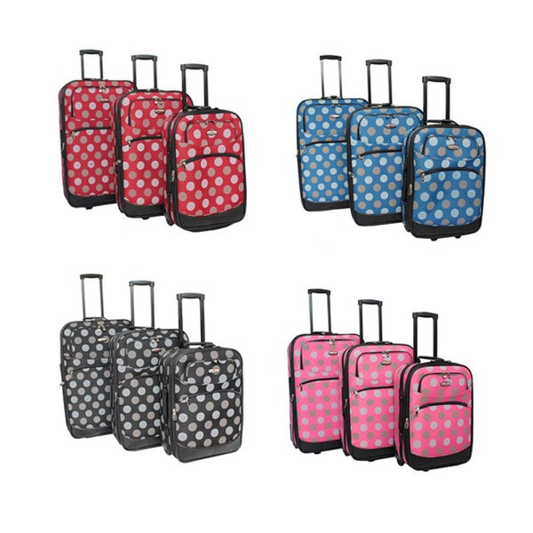 Explorer Polka Dot 3-Piece Expandable Luggage Set