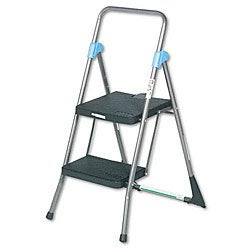 Cosco Commercial Gray Tubular-steel Framed Folding Two-step Ladder