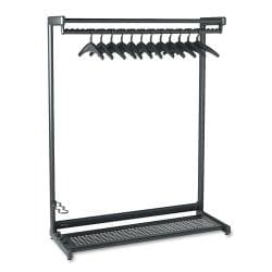 Quartet Black Garment Rack with Two Shelves