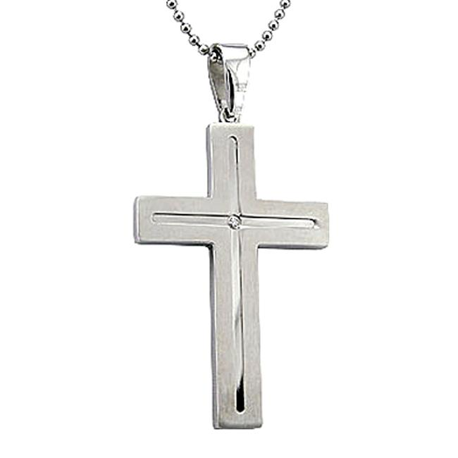 Stainless Steel Diamond Accent Large Cross Necklace