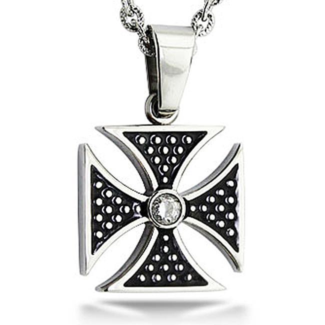 Steel Cubic Zirconia Norse-inspired Biker Theme Cross Necklace