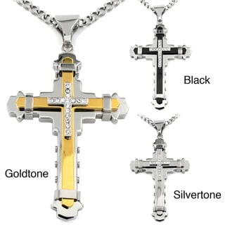 Two-tone Stainless Steel Cubic Zirconia Multi-layer Cross Necklace
