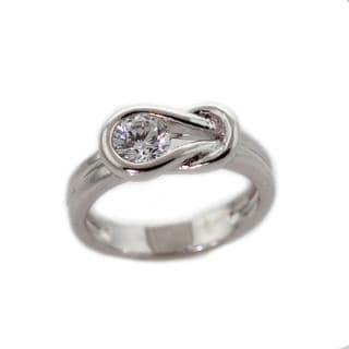 NEXTE Jewelry Silvertone Cubic Zirconia Large Knot Design Ring