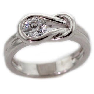 NEXTE Jewelry Silvertone with Overlay Cubic Zirconia Small Knot Ring