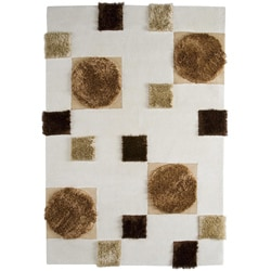 Hand-tufted Anat White Wool Rug (4'6 x 6'6)