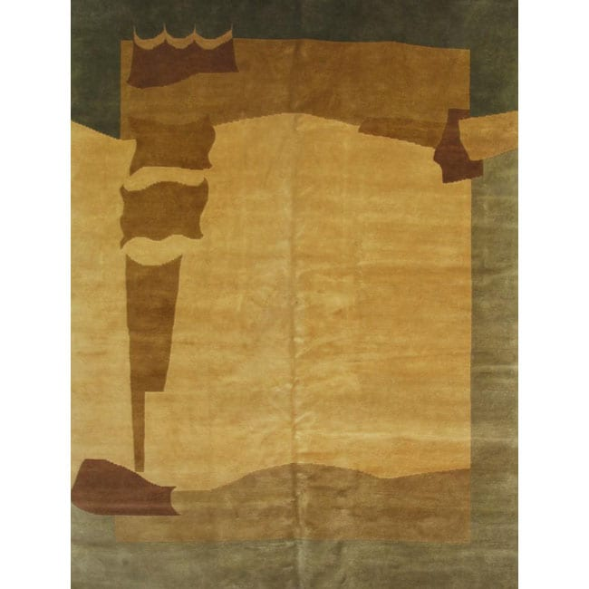 Hand-knotted Gold New Zealand Wool Rug (6' x 9')