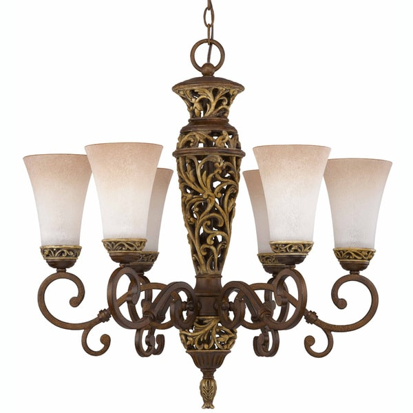 Filigree Aged Bronze 6-light Chandelier