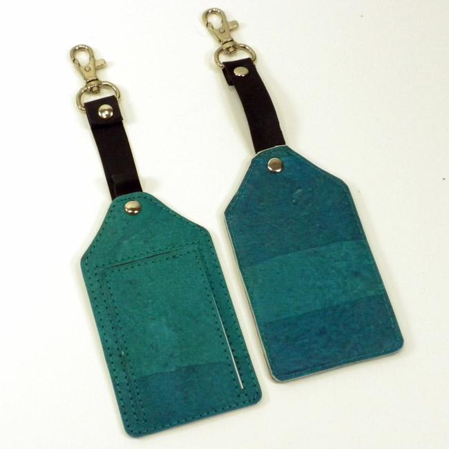 Set of Two Recycled Plastic Teal Travel Tags (India)