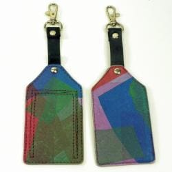Set of Two Recycled Plastic Patchwork Travel Tags (India)