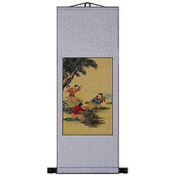 'Precious Children' Wall Art Scroll Painting (China)