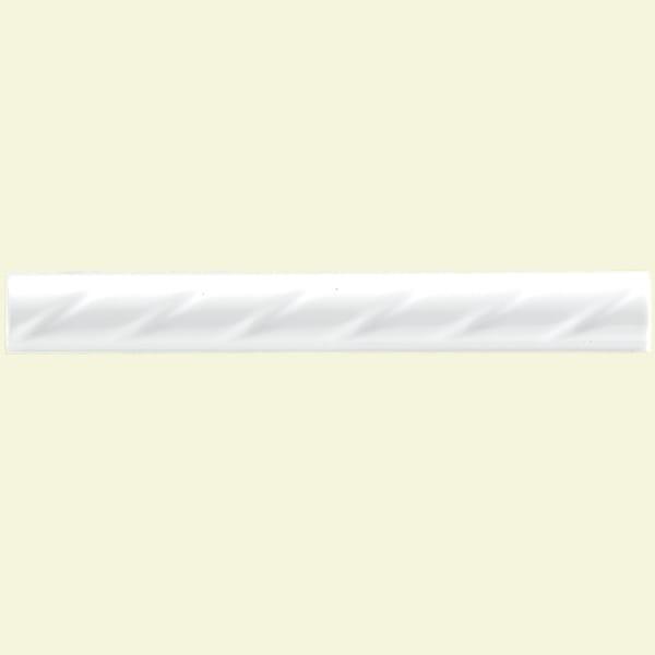SomerTile 1x8-in White Rope Pencil Ceramic Trim Tile (Pack of 12)