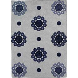 Hand-tufted Como Blue Wool Rug (8'3 x 11'6)