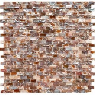 SomerTile 11.75x11.75-in Seashell Subway Perla Mosaic Tile (Pack of 10)