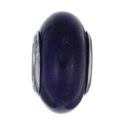 Sterling Essentials Sterling Silver Aventurina Blue Murano Glass Bead