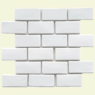 SomerTile 12x12-in London Subway White Handmade Ceramic Mosaic Tile (Pack of 5)